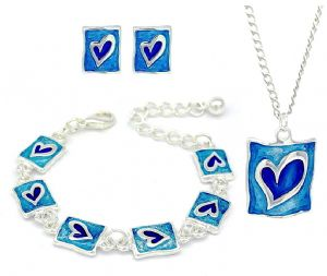 Kids / Children Blue Enamel Heart Shaped Stud Earrings & Bracelets & Necklace Set - Girls Jewellery Gift Set